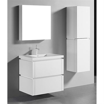 """Madeli Cube 30"""" Wall-Mounted Bathroom Vanity for Integrated Basin, Glossy White B500-30-002-GW by Madeli"""