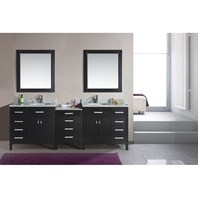 "Design Element London 92"" Double Sink Vanity Set - Espresso DEC076D-92"