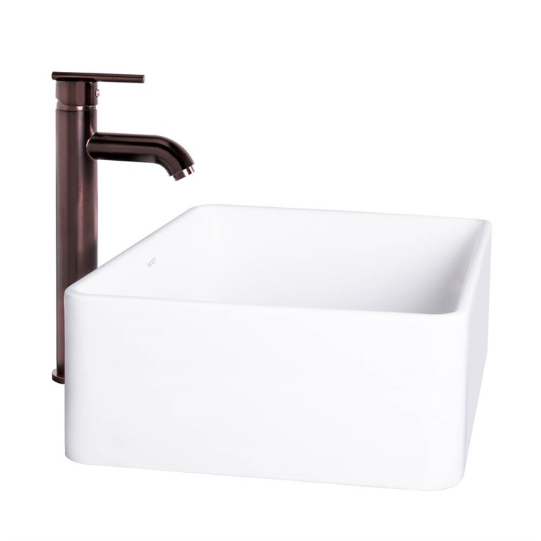 VIGO Caladesi Matte Stone Vessel Sink and Seville Bathroom Vessel Faucet in Oil Rubbed Bronze VGT1024