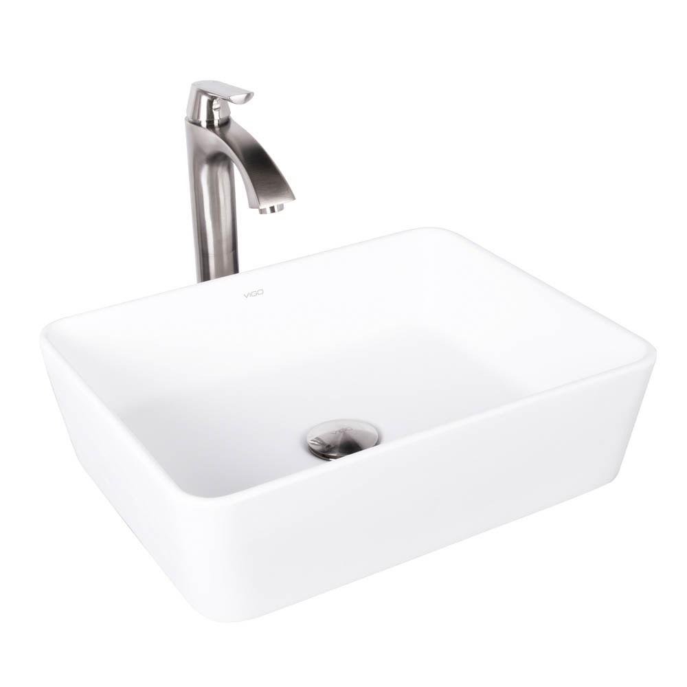 Vigo Sirena Matte Stone Vessel Sink And Linus Bathroom Faucet In Brushed Nickel Free Shipping Modern