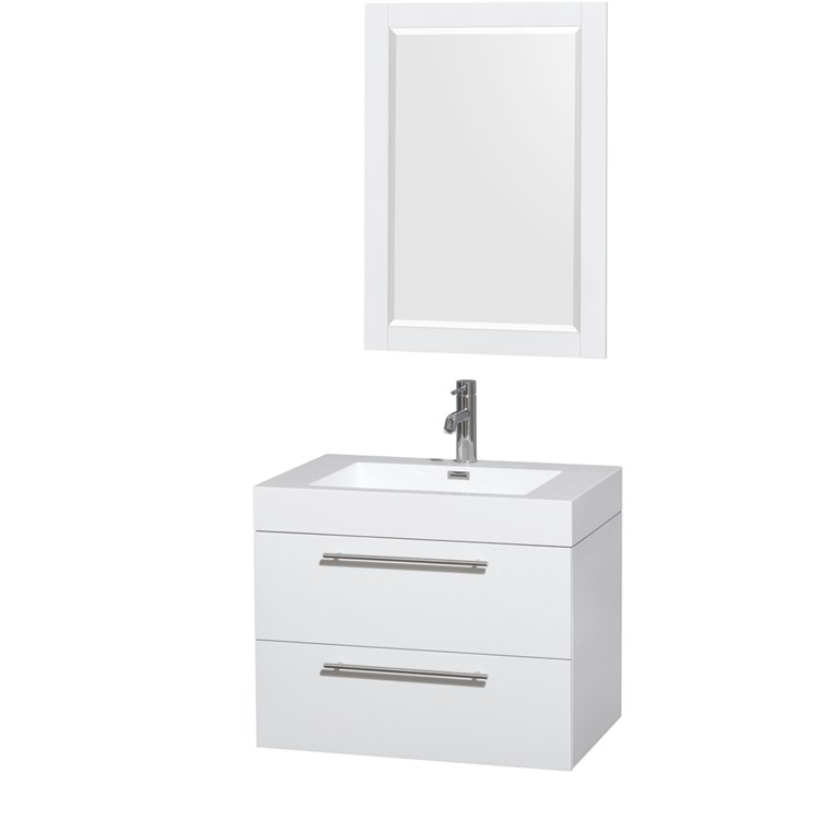 "Amare 30"" Wall-Mounted Bathroom Vanity Set with Integrated Sink by Wyndham Collection - Glossy White WC-R4100-30-VAN-WHT-"