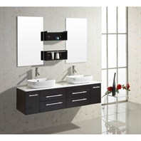 "Virtu USA Augustine 59"" Double Sink Bathroom Vanity - Espresso UM-3051-S-ES"