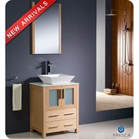 "Fresca Torino 24"" Light Oak Modern Bathroom Vanity with Vessel Sink FVN6224LO-VSL"