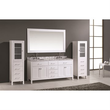 "Design Element London 72"" Double Vanity Set with 2 Linen Cabinets, White DEC076B-W_CAB004-WX2 by Design Element"