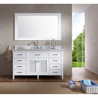 "Ariel Kensington 61"" Single Sink Vanity Set with Carrera White Marble Countertop - White D061S-WHT"