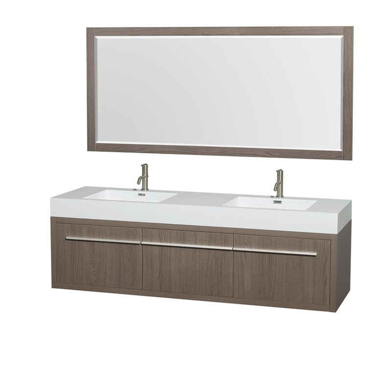 "Axa 72"" Wall-Mounted Double Bathroom Vanity Set With Integrated Sinks by Wyndham Collection - Gray Oak WC-R4300-72-VAN-GRO"