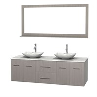 "Centra 72"" Double Bathroom Vanity for Vessel Sinks by Wyndham Collection - Gray Oak WC-WHE009-72-DBL-VAN-GRO_"