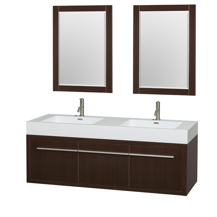 "Axa 60"" Wall-Mounted Double Bathroom Vanity Set With Integrated Sinks by Wyndham Collection - Espresso WC-R4300-60-VAN-ESP"