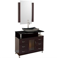 "Accara 36"" Bathroom Vanity with Drawers - Espresso w/ Black Granite Counter B706D-36-ESP-BLK"