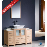 "Fresca Torino 48"" Light Oak Modern Bathroom Vanity with 2 Side Cabinets & Vessel Sink FVN62-122412LO-VSL"