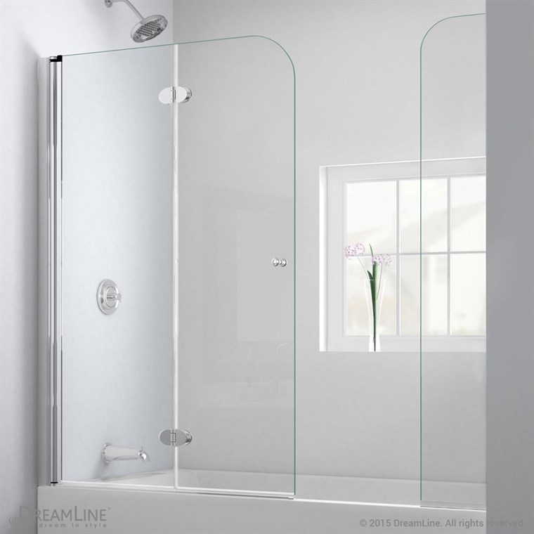 "Bath Authority DreamLine AquaFold Hinged Tub Door (56""-60"") with Extender Panel, Chrome Finish Hardware SHDR-3636580-EX-01"