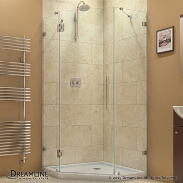 "Bath Authority DreamLine PrismLux Frameless Hinged Shower Enclosure, 34-5/16"" by 34-5/16"" SHEN-2234340 by Bath Authority DreamLine"