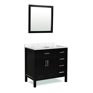 "Belmont decor Ashland 36"" Single Sink Vanity Set with Carrera White Marble Countertop, Espresso ST10D4-36-BLK by Ariel"