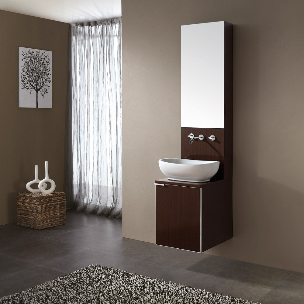 "Avanity Cube 16"" Single Bathroom Vanity, Sink, and Mirror Set - Wenge"
