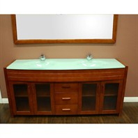"Design Element Waterfall 72"" Double Sink Vanity Set - Honey Oak DEC016B-2"