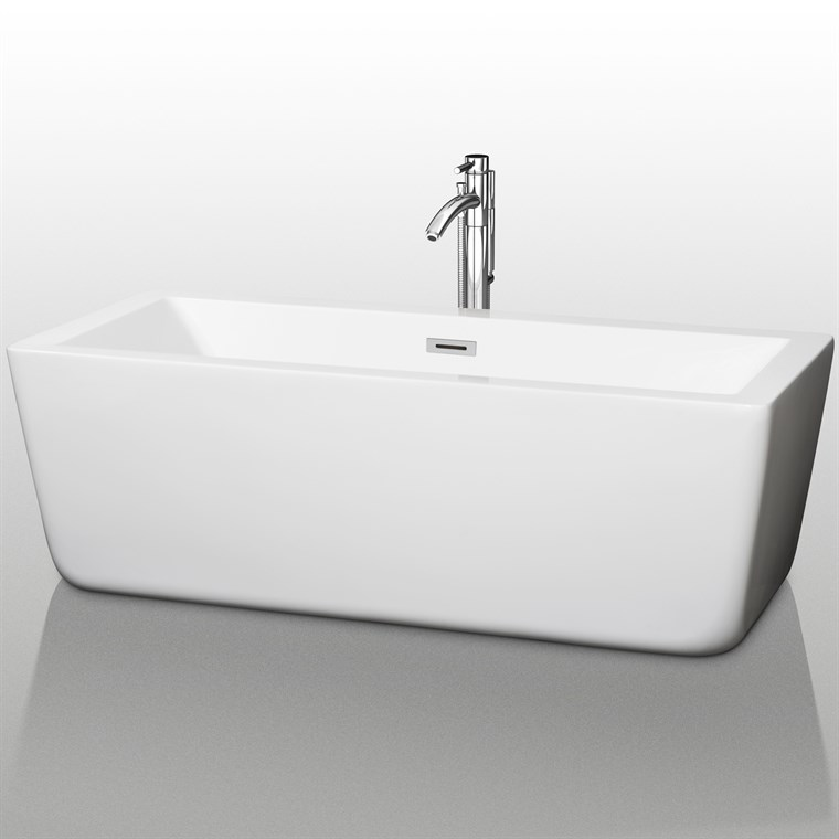 "Laura 67"" Large Soaking Bathtub by Wyndham Collection - White COPY WC-BTM1005-67"