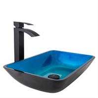 VIGO Rectangular Turquoise Water Glass Vessel Sink and Duris Faucet Set VGT795-