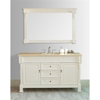 "Stufurhome 60"" Galaxy Single Sink Vanity in Cream Finish with Marble Top GM-6406-60-TR"