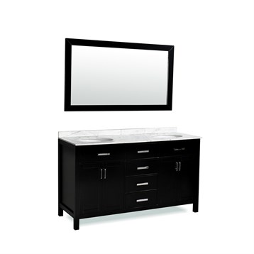 "Belmont decor Hampton 60"" Double Sink Vanity Set with Carrera White Marble Countertop, Espresso DM2D4-60-BLK by Ariel"