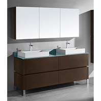 "Madeli Metro 72"" Double Bathroom Vanity for Glass Counter and Porcelain Basin - Walnut B600-72D-001-WA-GLASS"