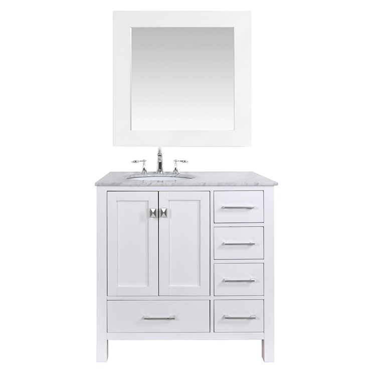 "Stufurhome 36"" Lissa Single Sink Bathroom Vanity - Pure White GM-6412-36-WHT"