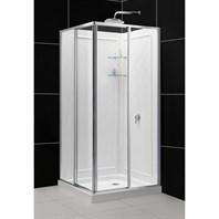 Bath Authority DreamLine Cornerview Framed Sliding Shower Enclosure and Double Threshold Shower Base and QWALL-4 Shower Backwalls Kit (36 x 36) DL-6150-01