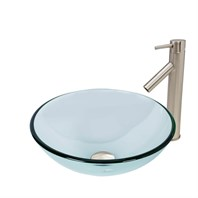 VIGO Crystalline Glass Vessel Sink and Dior Vessel Faucet Set in Brushed Nickel Finish VGT889