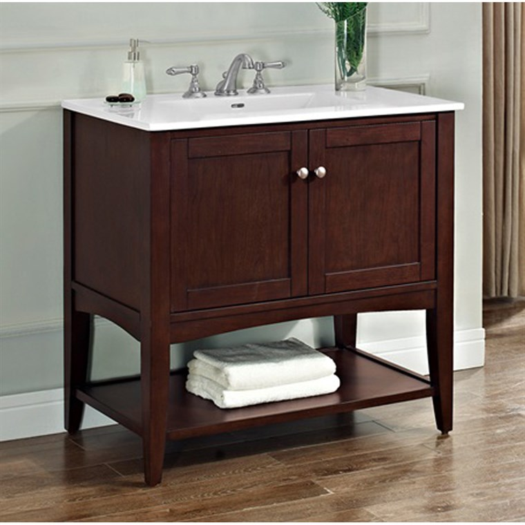"Fairmont Designs Shaker Americana 36"" Vanity - Open Shelf for Integrated Top - Habana Cherry 1513-VH36-"