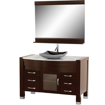 Awesome Sophisticated Bathroom Features Nook Filled With An Curved Vanity In An Espresso Finish Topped With Contrasting White Marble Countertop Under An Espresso Framed Vanity Mirror Lit By Chic Sconces Flanked By Floor To Ceiling Espresso