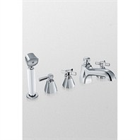 TOTO Guinevere™ Deck-Mount Bath Faucet w/ Cross Handles, Handshower and Diverter - Polished Chrome