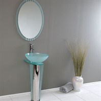 Fresca Vitale Modern Glass Bathroom Vanity with Mirror FVN1053