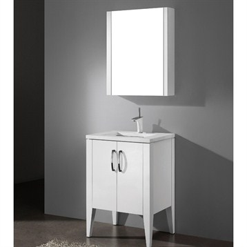 "Madeli Caserta 24"" Bathroom Vanity with Quartzstone Top, Glossy White B918-24-001-GW-QUARTZ by Madeli"