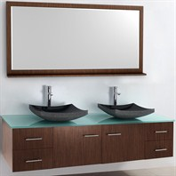 "Bianca 72"" Wall-Mounted Double Bathroom Vanity - Zebrawood WHE007-72-ZEBRA-DBL-"