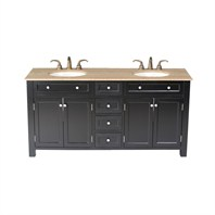 "Stufurhome 72"" Vesta Double Sink Vanity with Travertine Marble Top GM-3210-72-TR"