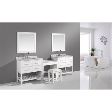 "Design Element London Two 36"" Vanities with Open Bottom and Make-up Table, White DEC077A-WX2_MUT-W by Design Element"