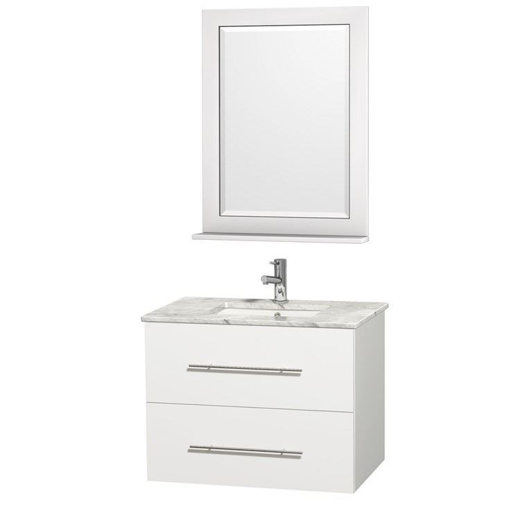 "Centra 30"" Single Bathroom Vanity for Undermount Sinks by Wyndham Collection - Matte White WC-WHE009-30-SGL-VAN-WHT-"