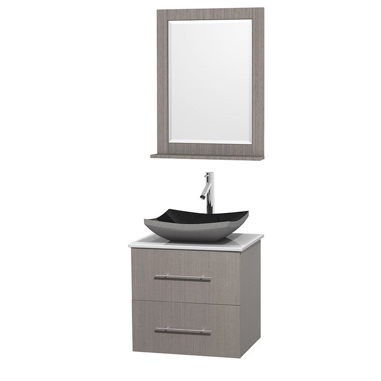 "Centra 24"" Single Bathroom Vanity for Vessel Sink by Wyndham Collection - Gray Oak WC-WHE009-24-SGL-VAN-GRO_"