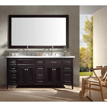 "Ariel Kensington 73"" Double Sink Vanity Set with Carrera White Marble Countertop, Espresso D073D-ESP by Ariel"