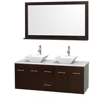 "Centra 60"" Double Bathroom Vanity Set for Vessel Sinks by Wyndham Collection - Espresso WC-WHE009-60-DBL-VAN-ESP"