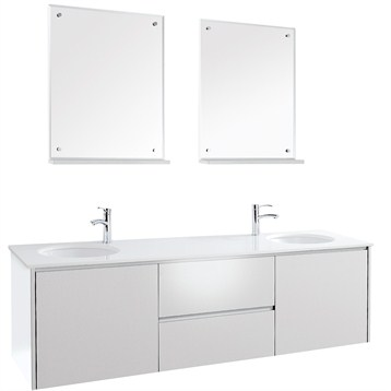 Fellino 72 Wall Mounted Double Bathroom Vanity Set White Free