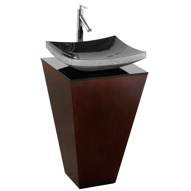 Esprit Bathroom Pedestal Vanity Set by Wyndham Collection - Espresso w/ Black Granite Sink WC-CS004-20-ESP-GR