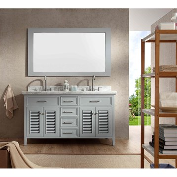 "Ariel Kensington 61"" Double Sink Vanity Set with Carrera White Marble Countertop, Grey D061D-GRY by Ariel"