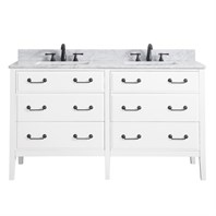 "Avanity Delano 60"" Double Bathroom Vanity - White DELANO-60-WT"