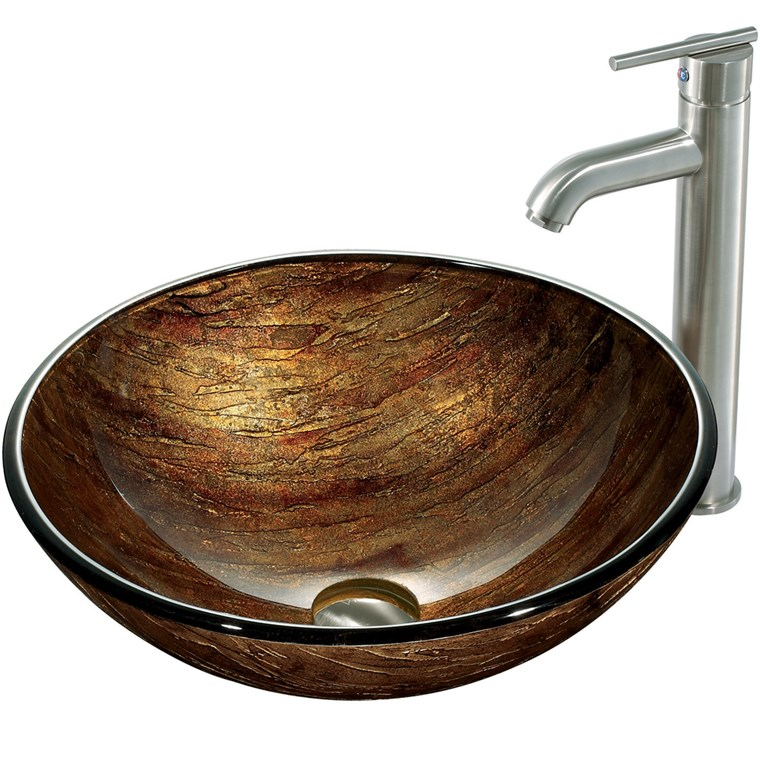 VIGO Amber Sunset Glass Vessel Sink and Faucet Set in Brushed Nickel VGT163