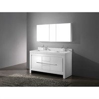 "Madeli Vicenza 60"" Double Bathroom Vanity with Quartzstone Top - Glossy White B999-60CD-001-GW-QUARTZ"