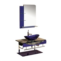 "Versa 36"" Bathroom Vanity with Glass Countertop & ZHJ26 Mirror - Purple"