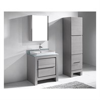 "Madeli Vicenza 30"" Bathroom Vanity for Glass Counter and Porcelain Basin - Ash Grey B999-30-001-AG-"