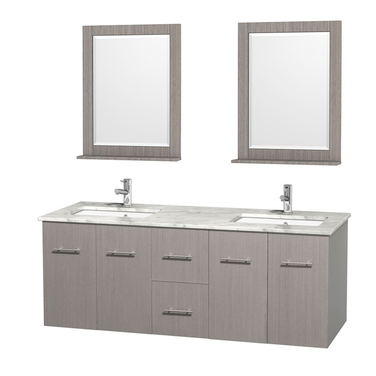 "Centra 60"" Double Bathroom Vanity for Undermount Sinks by Wyndham Collection - Gray Oak WC-WHE009-60-DBL-VAN-GRO-"