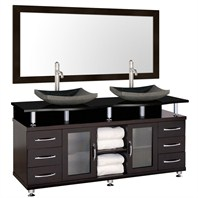 "Accara II 72"" Double Bathroom Vanity - Espresso w/ Black Granite Counter B706T-72-ESP-BLK"