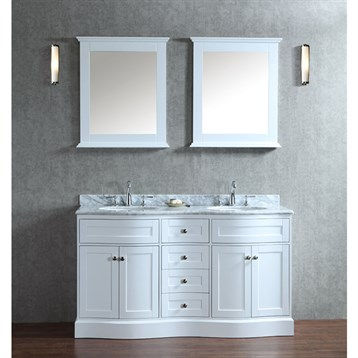 Seacliff By Ariel Montauk 60  Double Sink Vanity Set With Carrera White Marble Countertop Free Shipping Modern Bathroom